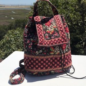 Vera Bradley Anastasia Mimi Backpack Black Red